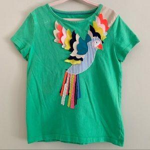 Mini Boden parrot green appliqué tee shirt 5-6